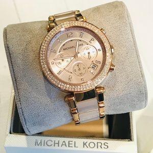 MICHAEL KORS Parker Rose Gold-Tone Blush Watch